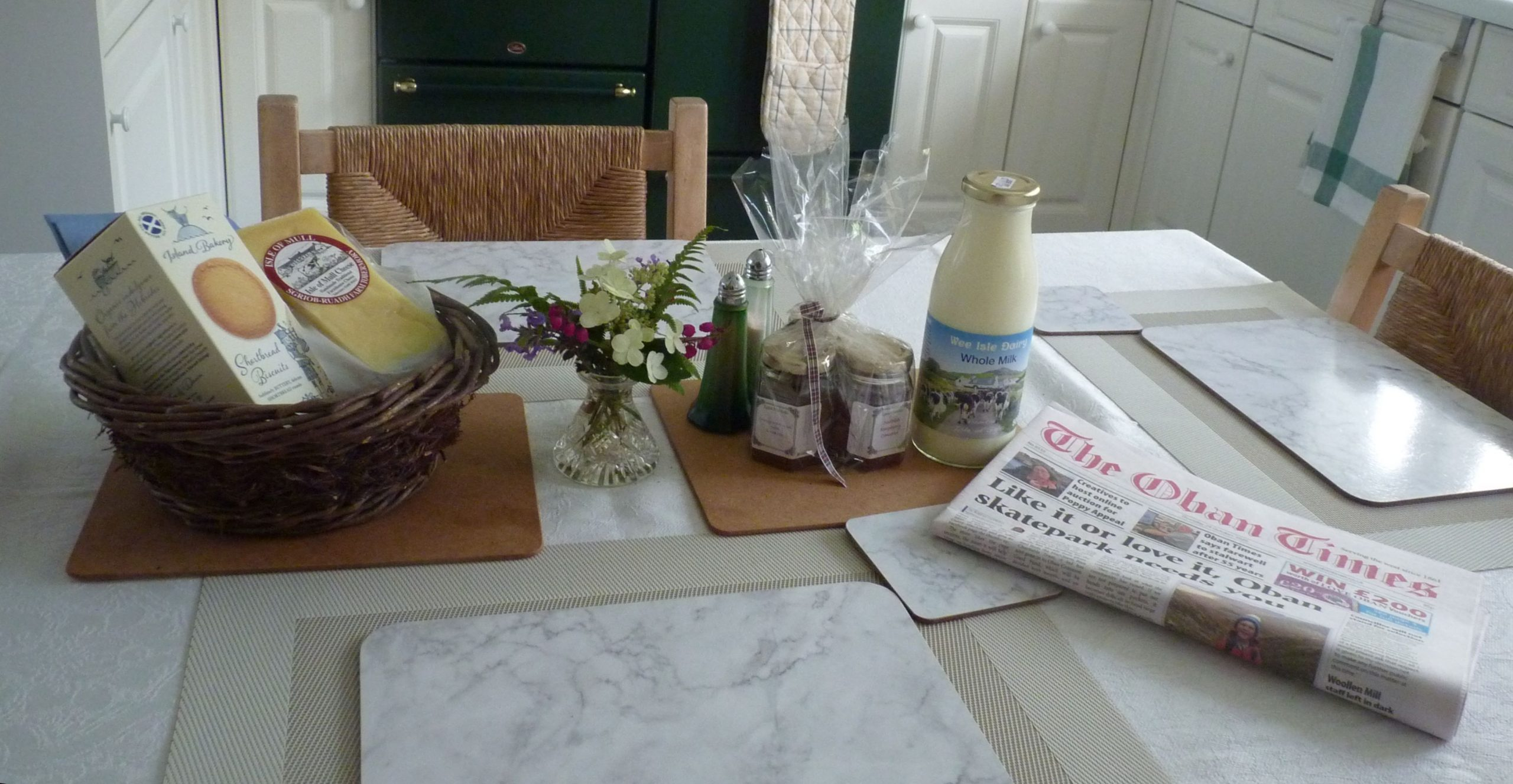 Welcome pack Kitchen Benderloch Self Catering