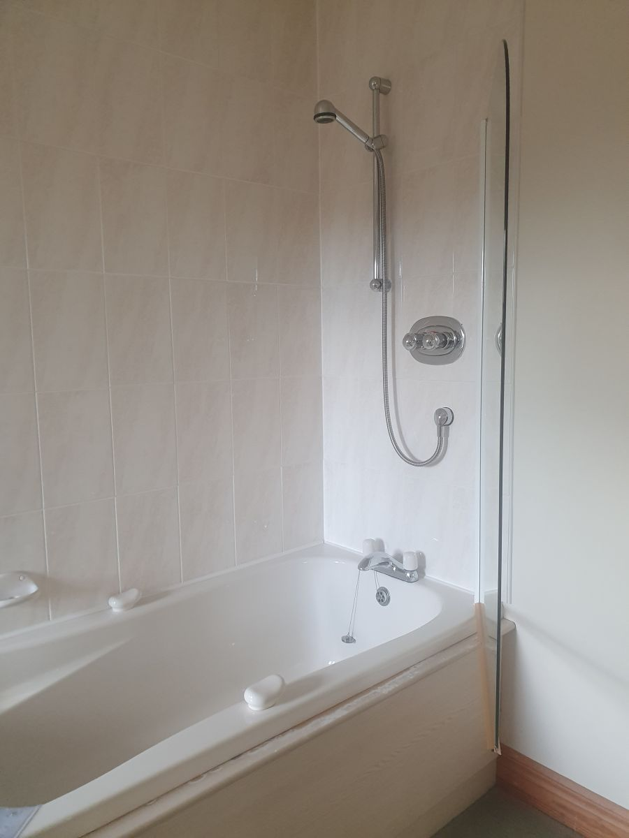 Downstairs bath, showing shower