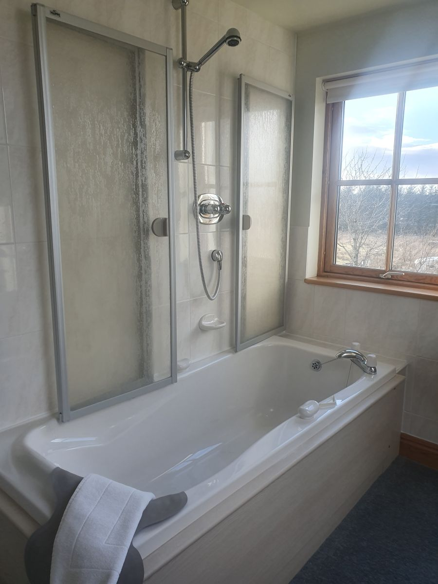 Upstairs bath showing shower